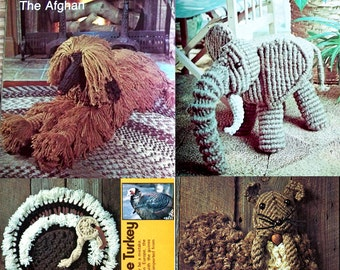 3 1970's Macrame Animal Pattern Books