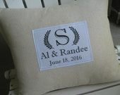 Family Name, Initial, Monogrammed, Laurel Wreath, Hashtag Pillow, French, New Home, Bride And Groom, Wedding Gifts, Cotton Anniversary