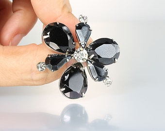 Three leaf Clover Brooch, Juliana hematite rhinestone Brooch, Black and White vintage jewelry