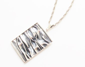 Large Vintage Modernist Sterling Pendant 925 Necklace