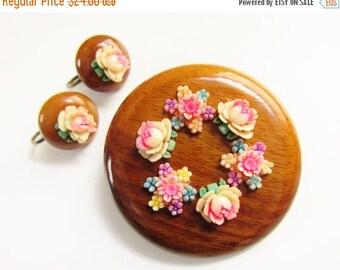 SaLe Vintage Hand Painted Celluloid Flower Wood Brooch Earrings
