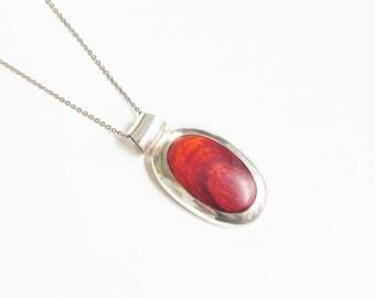 950 Sterling Peru Red Jasper Modernist Pendant Necklace