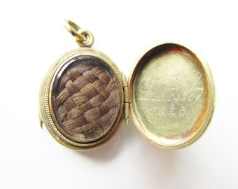 Antique Victorian Mourning Woven Hair Locket Gold Filled 1840s
