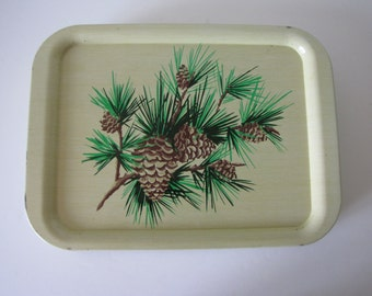 Vintage Beige/Green/Brown  Pinecone TV Tray / Lap Trays - Set of Eleven
