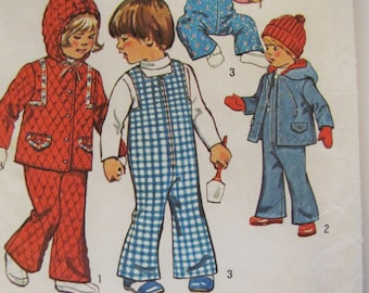 Vintage 1974 Baby Girl Boy Toddler Bell Bottom Overalls and Hooded Jacket Pattern - Simplicity 6636 - Size Half