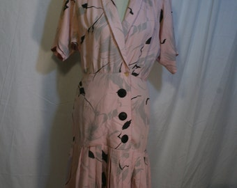 Vintage early 80s Clothing Dress Dawn Joy Fashions Drop Waist pink Black gray 1980s Pleated Skirt