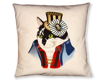 Tuxedo Cat Steampunk Pillow Cover - Black White Blue Red - Steampunk Cat - Square Pillow