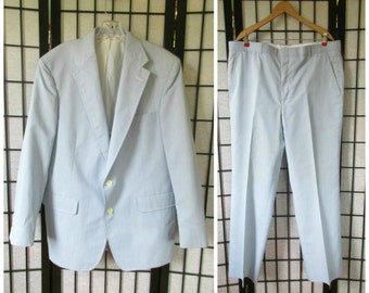 Vintage Mens Suit Pinstripe Palm Beach Jacket Pants 1970s Blue White Stripes Spring Summer Sport Coat Medium  42 R 44 Chest 2 Button Closure