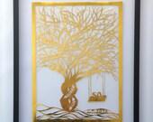 50th Anniversary FAMILY TREE Gift HANDMADe Custom Order in Gold Silhouette Paper Cut W/Names of Family Members ORIGINAL Design Framed OOaK