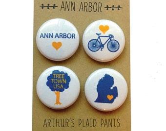 Ann Arbor magnet, Ann Arbor badges, Ann Arbor magnet set