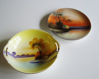 Vintage, Plate and Bowl, Japanese, Hand Painted Porcelain, Landscape, Noritake, Meito China, House and Trees, Asian, Art Deco, Morimura