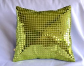 Green Sequin Disco Pillow Cover