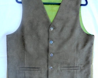 Khaki green suede material clasic men's vest, size XL mens vest, ready to ship