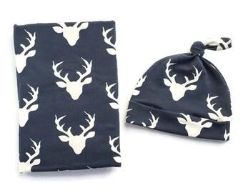 Swaddle Blanket And Newborn Hat Navy Deer Head- Deer Swaddle Blanket- Buck Baby Blanket- Boy Newborn Blanket-Hospital Outfit- Woodland