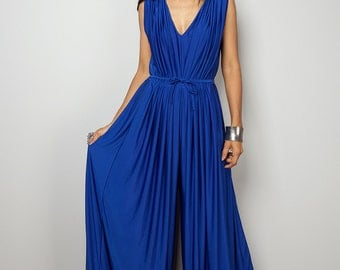 Blue Jumpsuit - Sleeveless Royal Blue Jumper Maxi Dress : Chic & Casual Collection