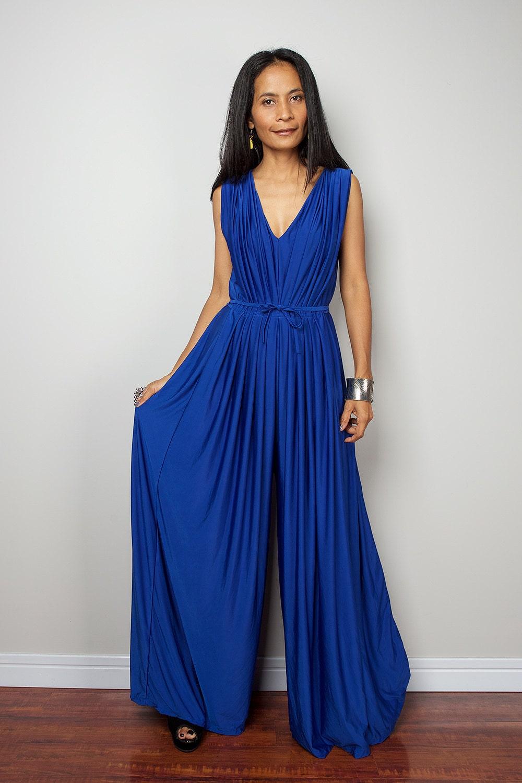 Blue Dressy Plus Jumpsuit: Blue Jumpsuit Sleeveless Royal Blue Jumper Maxi Dress : Chic