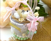 Shabby Chic Bird's Nest Decor Holiday Gift. One of a Kind Gifts - Unique Gifts, OOAK Gifts Bird's nest. Special Gifts - Quinceanera gifts