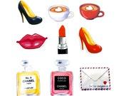 Hello Gorgeous Planner Paper Clip Set -  Magnets - Planner Clips. Designer Inspired Perfume Bottle Clip. Diva Fashion Chic COCO Lipstick