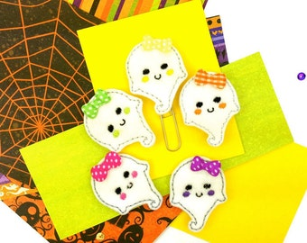 Cute Smiley Felt Ghost Paper Clips, Magnet set. 5 Feltie clips, Halloween Paper Clip, Fashion White Ghost Paper Clip. Novelty gift Magnets