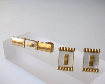Anson Mother of Pearl Cuff LInks Set Tie Bar Goldtone Mid Century Set White and Gold Cufflinks Wedding Set FREE US ship