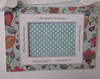 Ultrasound Frame or Mat with Bible Verse - Aqua Red Yellow Green - Paisley Flowers and Polka Dots - Baby Girl - 5 x 7