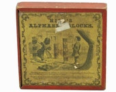 Antique S L Hill Children's Wooden Alphabet Blocks - Circa 1880 - Complete Set in Original Box