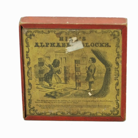 S L Hill Children's Wooden Alphabet Blocks - Circa 1880