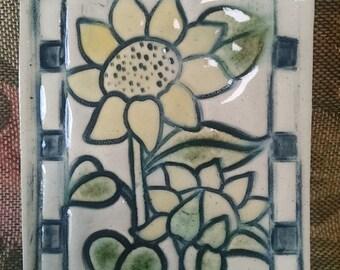 Sunflower Pottery OOAK kitchen trivet