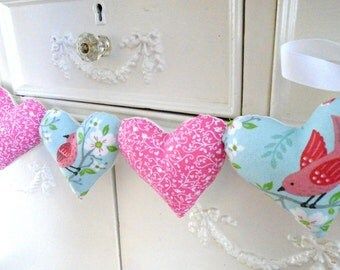 Bird Heart Garland / Salmon Pink Birds / Fabric Heart Garland / String Hearts / Robins Egg Blue / Pillow Heart Garland / Bird Wall Banner