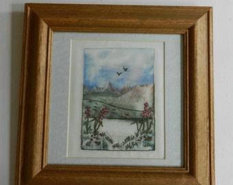 "Original embroidered encaustic art picture - 'Foxgloves' - 11"" x 11"""