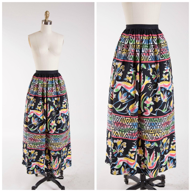 50s vintage maxi skirt colorful mexican print cotton vintage