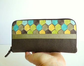 Womens wallet// yellow-turquoise-brown honeycomb printed fabric wallet-gift for her- gift for wife