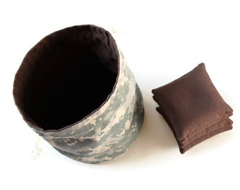 ACU Camouflage & Chocolate Brown Bucket Bag with Brown Bean Bags (set of 4) Children's Toy -- US Shipping Included