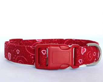 Handmade Cotton Dog Collar - Valentine Red and Pink Hearts