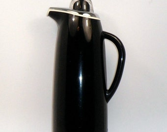 Insulated Carafe Coffee Tea 4 Cup Black Carafe Corning Designs Thermique Vintage Mid Century Modern Japan 1950s