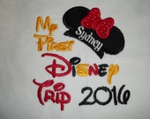 Minnie Ears My First Disney Trip Short Sleeve Appliqued Tshirt - Toddler Tshirt sizes 12 months to 5/6