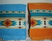 Southwestern decor, orange or aqua hand/dish towel w/panel of Aztec design fabric, Navajo tribal, cotton terry, hostess gift, under10, blues