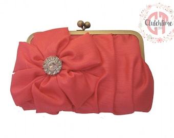 Coral formal clutch, bridesmaid clutches, custom bridesmaid gifts, bridesmaid gifts, wedding clutches
