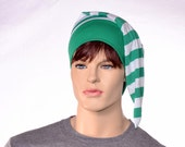 Green White Stripes Night Cap Sleeping Hat Head Underwear Men Women Adult Elf Cap Pirate Hat  Poor Poet Hat Kelly Green Striped Nightcap