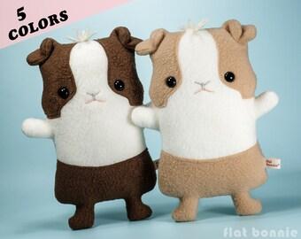 Guinea pig plush stuffed animal, Kawaii piggy soft toy doll, Cute fleece dutch cavy, Handmade boy girl gift, Animal lover gift, Flat Bonnie