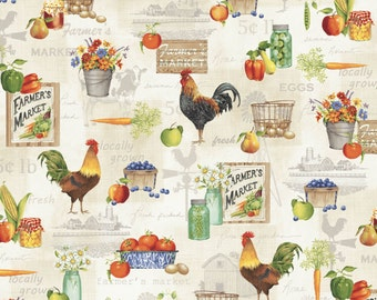 A Day on the Farm - Rooster Fruits Multi from Red Rooster Fabrics