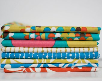 A Nod to Mod Fabric Bundle -  Fat Quarter Bundle - 8 fat quarter pieces (B365)