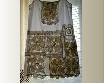 White cotton tunic, shabby tunic, vintage lace crochet, nightshirt, straps tunic, artsy tunic, upcycled clothing, summer tunic size L