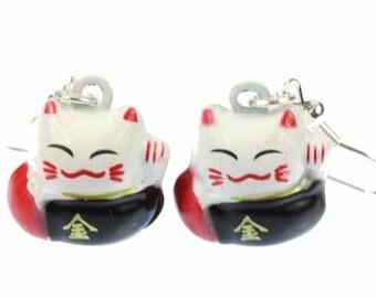 [BUNDLE] [OR00191] Cat white metal earrings wink cat Miniblings Maneki-neko lucky cat Red