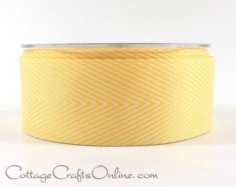 "Chevron Twill Tape, 1 1/2"" wide, Yellow and White Striped Ribbon - THREE YARDS -  May Arts Craft Ribbon, Sewing Trim"