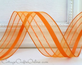"Wired Ribbon, 1 1/2"",  Orange Striped Semi-Sheer - THREE YARDS - Offray ""Kempton Orange"", Halloween, Fall, Spring, Summer Wire Edged Ribbon"