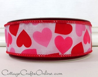 "Valentine Wired Ribbon, 1 1/2"", Red and Pink Hearts on White  - TWENTY FIVE YARD RoLL - Offray ""Romantica"" Wire Edged Valentine Ribbon"