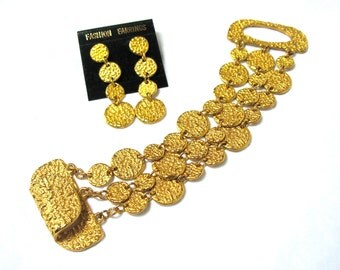 Bracelet and Dangle Earring Set, Large Bracelet, Gold Nugget Look, Textured, Post Earrings, Gold Tone, Gift Idea, Excellent