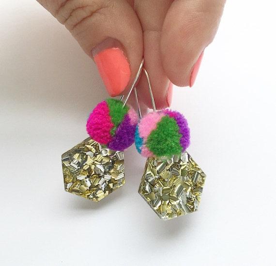 makeforgood / Hexie Lush Glitter Pom Drops / Each To Own / makeforgood / Laser Cut Glitter Earrings