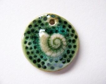 Sea Green Conch Shell Pendant Stoneware Clay